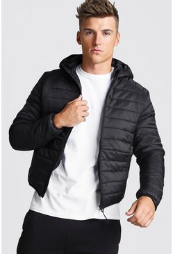Mens Black Zip Quilted Puffer Jacket