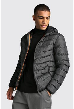 Mens Black Check Quilted Zip Through Jacket