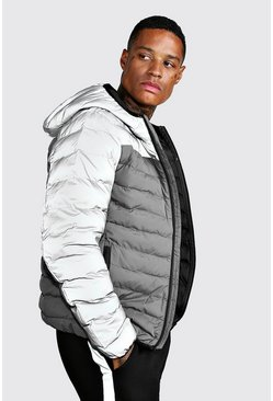 Mens Grey Quilted Zip Through Puffer Jacket