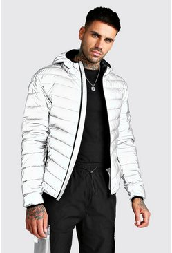 Mens Grey Quilted Reflective Hooded Jacket