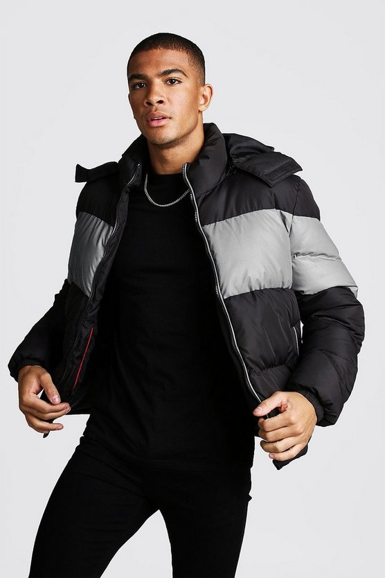 Mens Black Reflective Colour Block Quilted Hooded Jacket