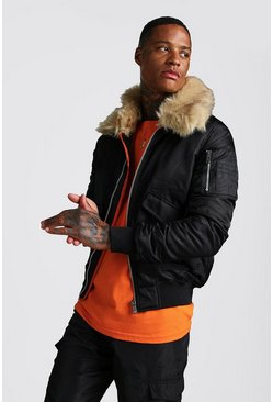 Black Aviator Jacket with Faux Fur Collar