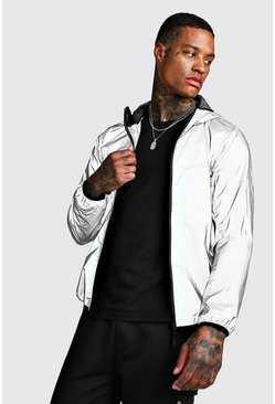 Mens Silver Reflective Hooded Jacket