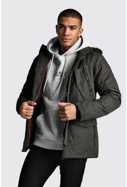 Mens Khaki Fur Hooded Padded Parka