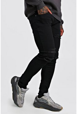 Mens Black Skinny Jean With Multi Rips