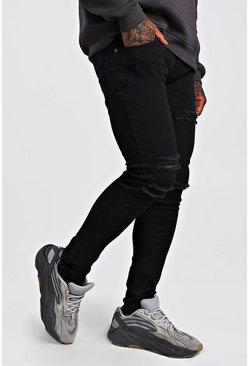 Black Skinny Jean With Multi Rips