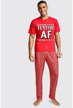 Festive AF Christmas Lounge Set, Red, HOMMES