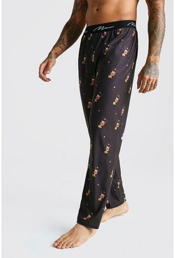 Mens Black MAN Script Reindeer Lounge Pant