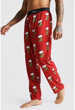 Mens Red MAN Script Stocking Lounge Pant