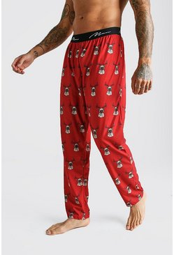 Mens Red MAN Script Pug Lounge Pant