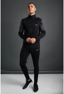 Black MAN Active Funnel Neck Reflective Detail Tracksuit