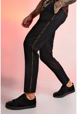 Mens Black Smart Jogger Metallic Tape Trouser