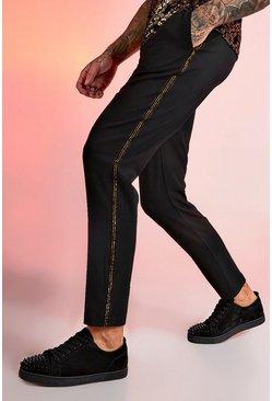 Black Smart Jogger Metallic Tape Pants