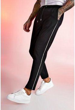Smart Jogger Metallic Tape Cropped Trouser, Black