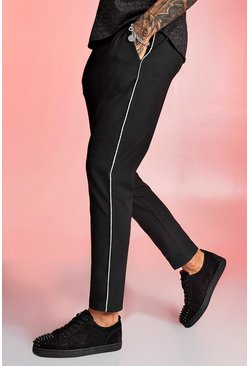 Mens Black Smart Jogger Trouser With Metallic Piping