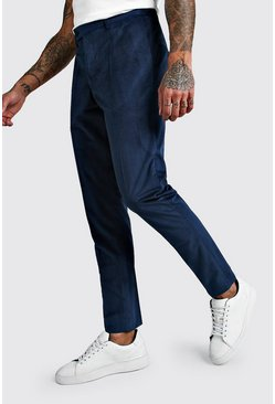 Teal Velour Skinny Fit Smart Pants