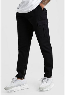 Zip Ankle Twill Cargo Trouser, Black