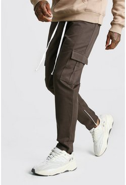 Mens Khaki Zip Ankle Twill Cargo Trousers
