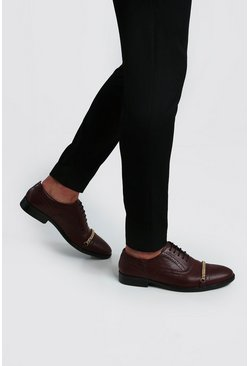 Chain Detail Faux Leather Brogue, Burgundy