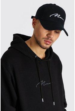 Black MAN Signature Embroidered Cap