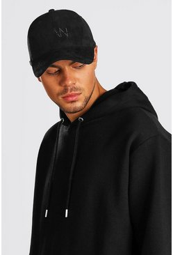 Black MAN Dash Embroidered Suedette Cap