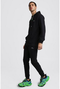 Mens Black MAN Signature Ribbed Hooded Tracksuit