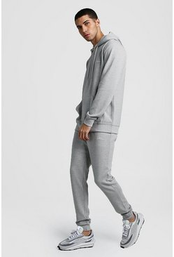 Grey marl MAN Signature Ribbed Hooded Tracksuit