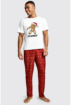 Flossy Christmas Lounge Set, Red, HOMMES
