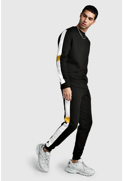 Mens Black Sweater Tracksuit With Contrast Side Panels