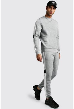 Mens Grey marl Sweater Tracksuit With Contrast Side Panel
