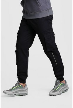 Mens Black Multi Cargo Pocket Cuffed Trouser