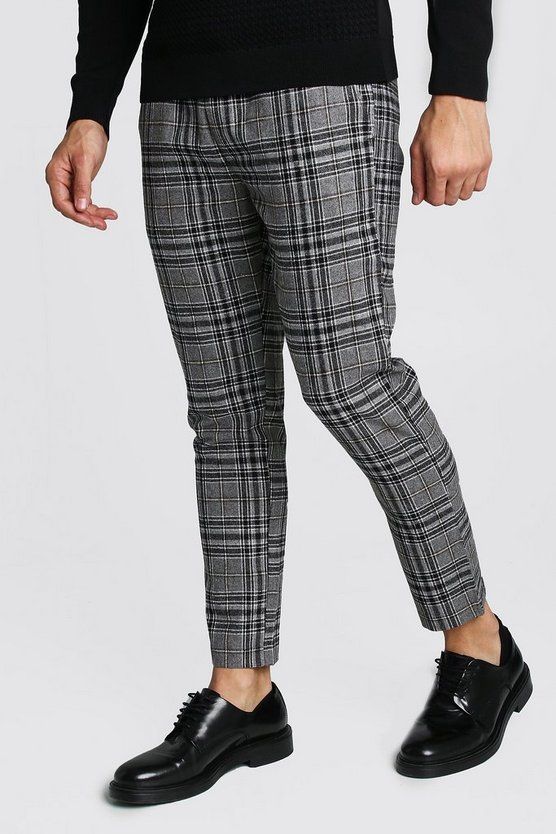 Wool Look Check Smart Cropped Jogger Trouser by Boohoo Man