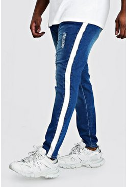 Big And Tall Side Panel Skinny Jean, Mid blue