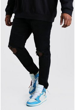 Black Big And Tall Skinny Busted Knee Biker Jean