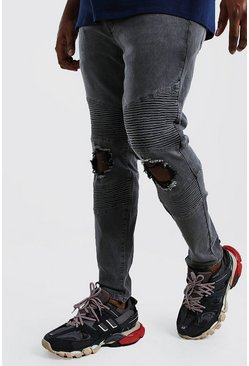 Charcoal Big And Tall Skinny Busted Knee Biker Jean