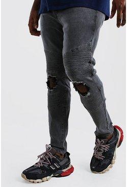 Charcoal Big And Tall Skinny Busted Knee Biker Jean