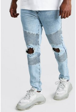 Big And Tall Skinny Busted Knee Biker Jean, Pale blue