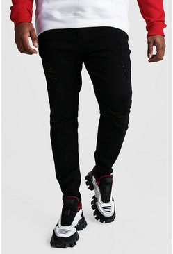 Big And Tall Ripped Knee Skinny Jean, Black