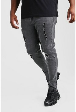 Big And Tall Ripped Knee Skinny Jean, Charcoal