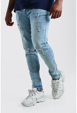 Big And Tall Ripped Knee Skinny Jean, Pale blue
