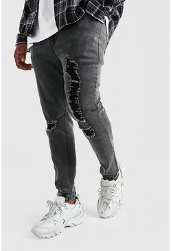 Charcoal Big And Tall Skinny Jean With Heavy Distressing