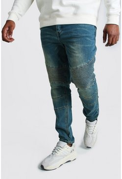 Mid blue Big And Tall Skinny Fit Biker Jean
