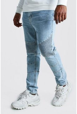 Big And Tall Skinny Fit Biker Jean, Pale blue