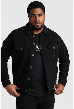 Black Big And Tall Borg Lined Denim Jacket
