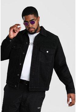 Black Big And Tall Denim Jacket With Borg Panel