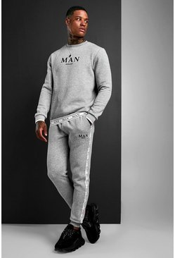 Grey MAN Sweater Tracksuit With Tape Detail