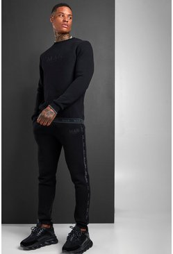 MAN Sweater Tracksuit With Tape Detail, Black