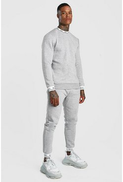 Mens Grey Sweater Tracksuit With MAN Rib