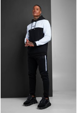 MAN Colour Block Hooded Tracksuit With Tape, Black, HOMMES