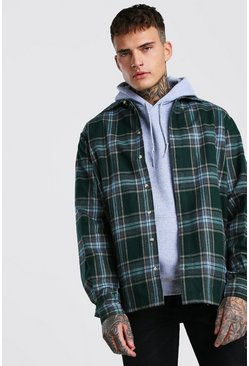 Green Long Sleeve Heavy Weight Check Overshirt